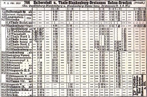 Fahrplan der H.B.E. vom Oktober 1913