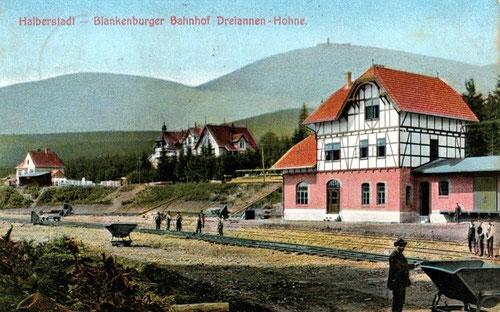 Der neue HBE Bahnhof in Drei-Annen-Hohne kurz vor der Eröffnung 1907
