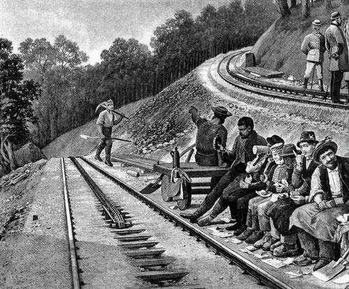 Bau der Harzbahn an der Spitzkehre Michaelstein 1885 (Zeichnung Carl Grote)