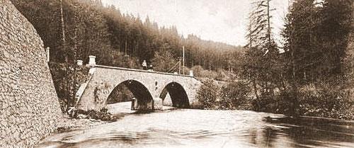 Brücke der Diabas-Bahn hinter dem Bahnhof Rübeland um 1900
