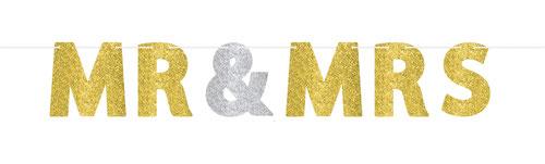 "Letterslinger ""Mr & Mrs"" goud/zilver 365cm € 4,95"