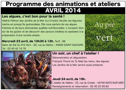 Mercredi 23 avril 10h30 au Pré Vert à Saint-Nazaire, jeudi 24 avril à 19h à l'atelier de Valérie à Batz-sur-Mer