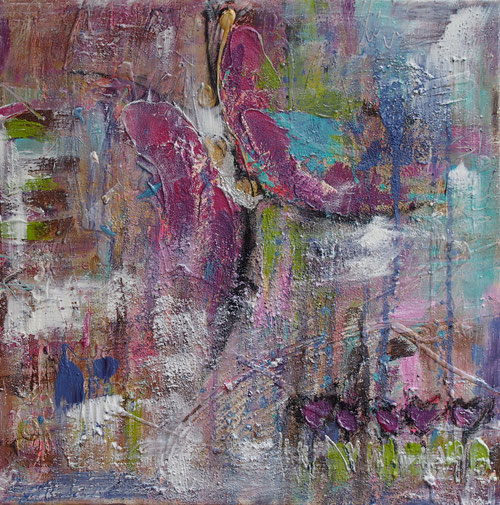 """""""Butterfly"""" - 60x60x4 cm - abstrakte Malerei von Linda Ferrante"""