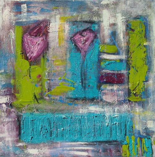 """""""Am Gartenzaun"""" - 60x60x4 cm - abstrakte Malerei von Linda Ferrante"""