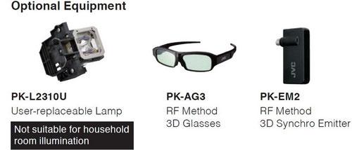 Zubehör (Ersatzlampe), 3D-Brille und 3D-Emitter