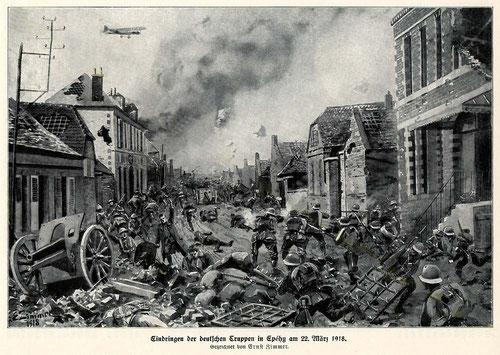 Tableau du peintre Ernst Zimmer représentant la bataille du 22 mars 1918 à Epehy