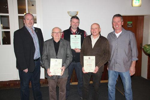 v.li. Gert Dölling, Harald Köhler, Manfred Lemme, Uwe Mader und Hartmut Peters