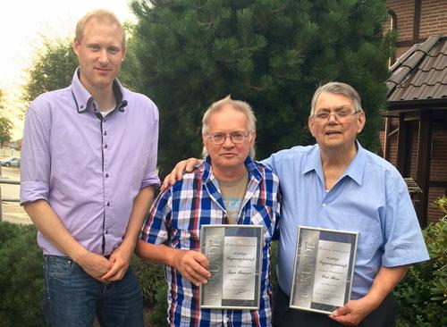 v. li: 1. Vorsitzender Tobias Baumgarten, Jürgen Baumgart und Erich Herren