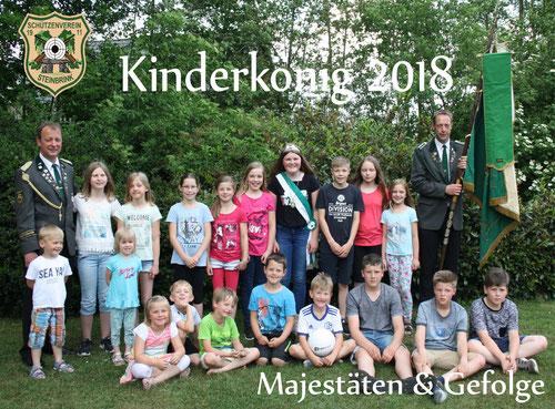 Bild: Das neue Kinderkönigspaar mit seinem Hofstaat sowie die Organisatoren