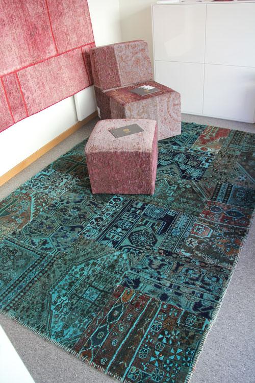 Patchwork Teppich und Vintage Sitzmöbel