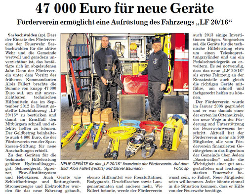 Bericht aus dem Acher Bühler Bote vom 29.12.2012