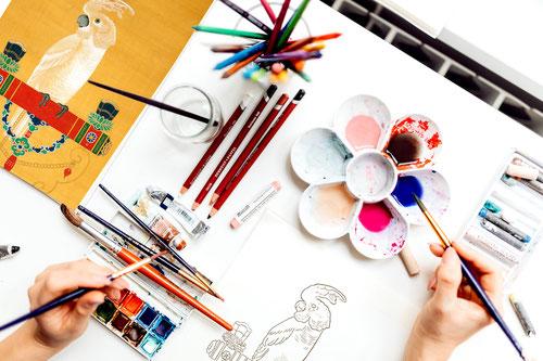 塗り絵ワークショップ「千葉市美術館オンラインワークショップ」伊藤若冲・鸚鵡図