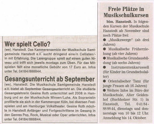 Unser Hanstedt September 2011 . . . . . . . . . . . . . . . . . . . . . . . . . . . . . Nordheide Wochenblatt 28.09.2011