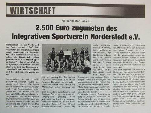 Norderstedter Bank spendet für ISN