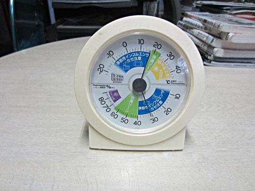 私の設計室(コンクリート打放しの室内)12月中旬の室温と湿度ー室内を暖房すると湿度が低くなる