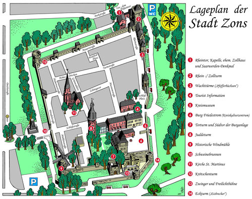 Mittelalterlicher Lageplan Stadt Zons
