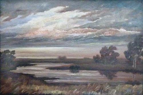 Abend im Moor (Gemälde von Heinz Dodenhoff, Worpswede)