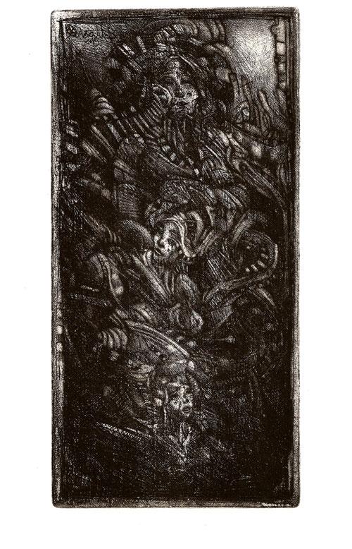 Les Gardiennes / Eau forte, pointe sèche & aquatinte sur zinc / 10 x 19.5 cm / Edition de 26 ex / 2016