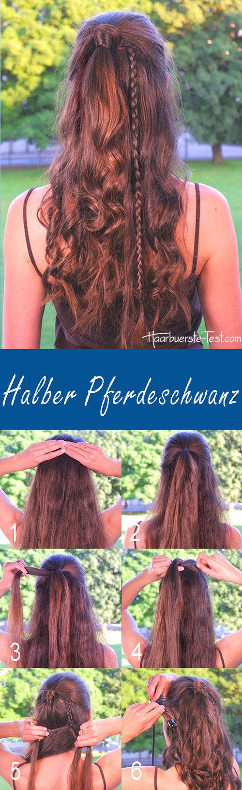 halboffene Frisur mit Locken, Halber Pferdeschwanz Anleitung
