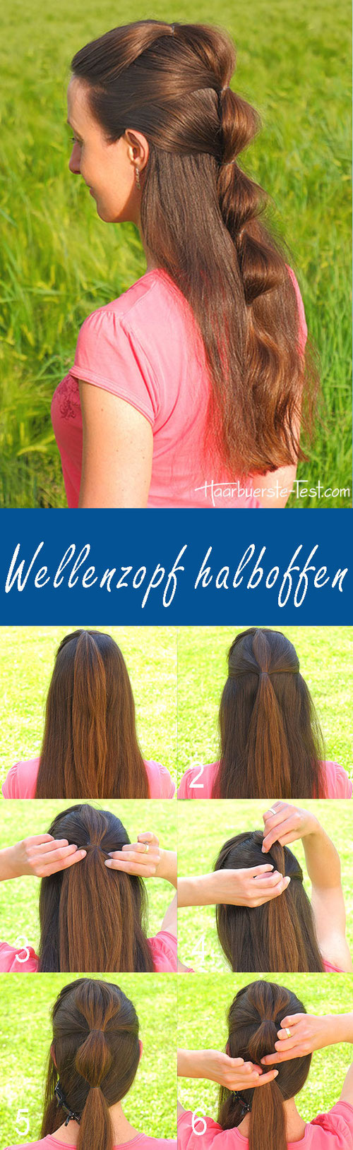Wellenzopf Anleitung, einfache Frisur für lange Haare, schnelle Frisur für lange Haare