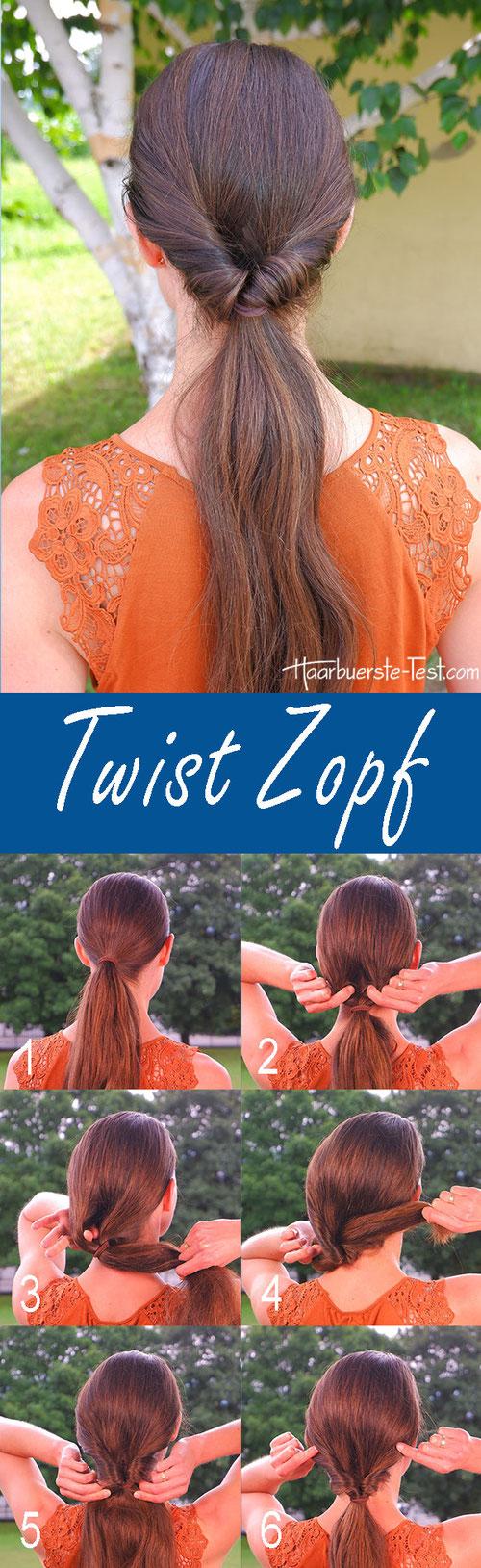 Pferdeschwanz Frisuren Anleitung, Ponytail with twist, Twist Zopf