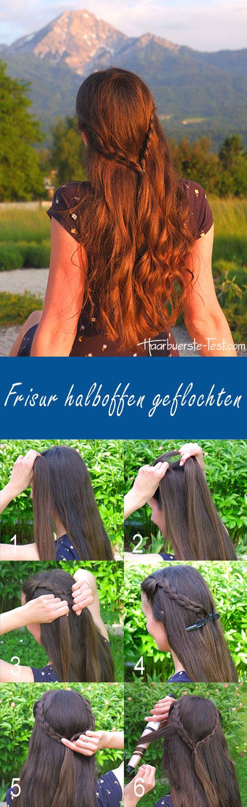 Frisur halboffen Anleitung, halboffene geflochtene Frisur, Strandfrisur