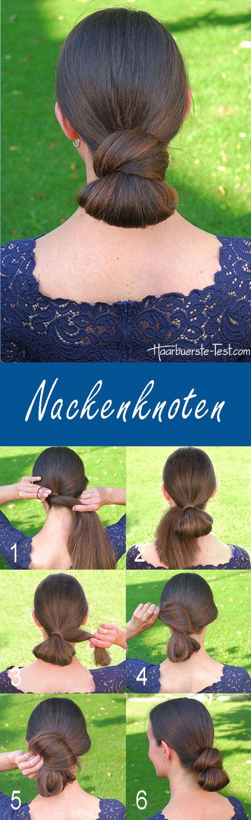 Nackenknoten Frisur Anleitung, Nackenknoten Anleitung