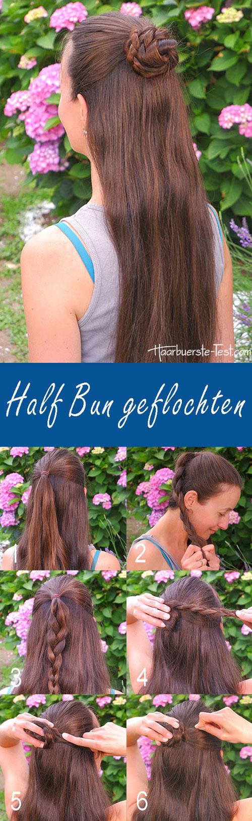 half bun tutorial, half bun anleitung, dutt flechten
