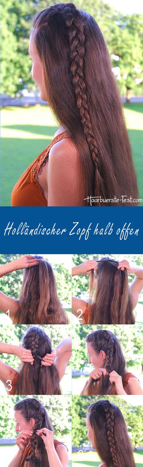 Holländischer Zopf Anleitung, Holländischer Zopf halb offen, schöne Flechtfrisur