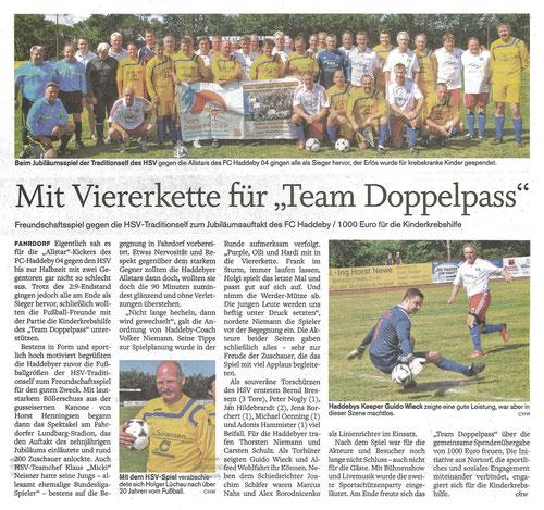 Zeitungsbericht in den Schleswiger Nachrichten vom 17.07.2014