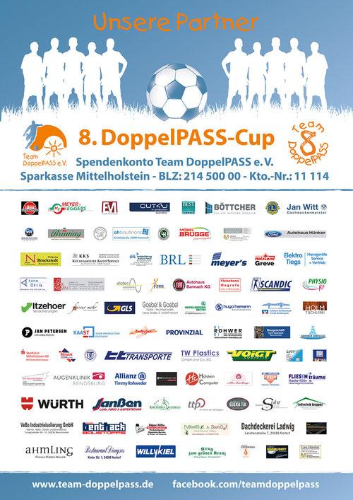 Das offizielle Sponsorenplakat zum 8. DoppelPASS-Cup