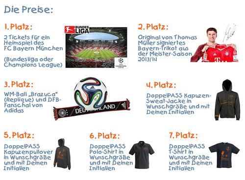 Die Preise des Team DoppelPASS WM-Tippspiels