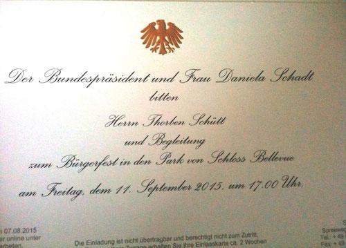 Nicht alltägliche Post: Die Einladung des Bundespräsidenten für Thorben Schütt