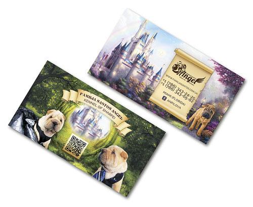 business cards shar pei kennel design; familia Santos Angel sharper kennel Maiami USA; fairy magic business cards dogs pets design order;