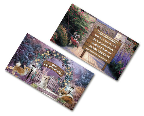 chihuahua jennel business cards design; luxury business cards design; violet business cards animals dogs design; fairy magic business cards animals dogs ideas; best luxury business cards; 2017; FCI; UKU; Ukrainian Kennel Union; Vom Loewengarten kennel; Ki