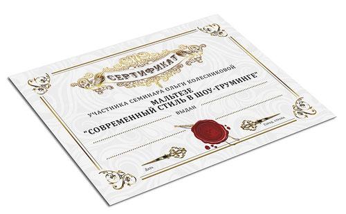 luxury beautiful vertificates design template; luxury award certificate design order; price; cost; Kiev; Ukraine; PRS LA BEAUTY; handler; groomer; diploma; master class; Olga Kolesnikova;