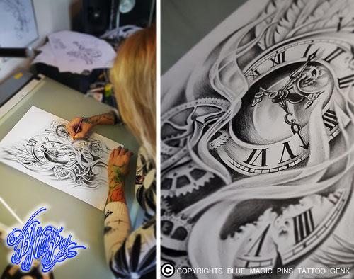 Blue Magic Pins tattoo custom design Genk Belgium