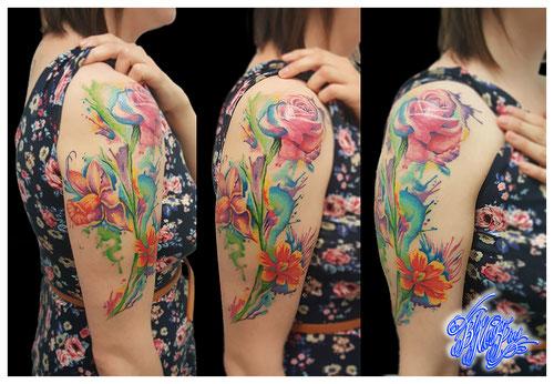 Watercolor custom flower tattoo sleeve Blue Magic pins narcissus roses aquarelle feminine color flowers pastel women girl