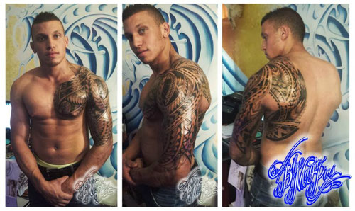 Blue Magic Pins fully custom polynesian sleeve, chest and back done on a beast!!! Genk Belgium tattoo shop