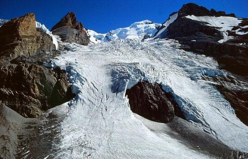 Blümlisalpgletscher vom Hüttenweg. Mein Foto von 1991.  Durch Klicken auf Foto (Link zu www. gletschervergleiche.ch) ist der Rückzug des mittleren und rechten Eisfalls erkennbar.