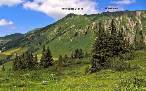 Höferspitze mit Lawinenverbauungen und Höferkamm vom Wanderweg Hochtannbergpass - Körbersee