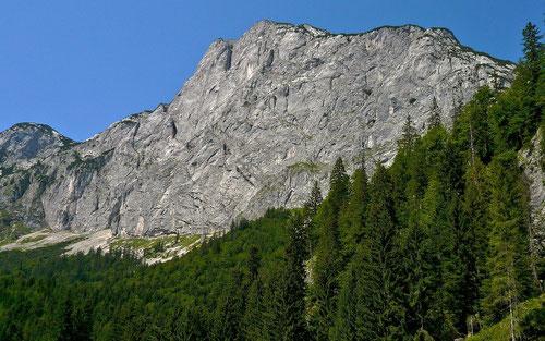 Die breite,. bis 600 m hohe Südwand des Reichensteins über der Zimitzalm am südlichen Steilabfall des Toten Gebirges