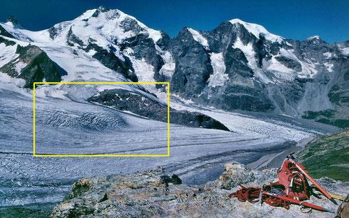 Pers- und Morteratschgletscher im Jahr 1986. Der gelb eingerahmte Bereich zeigt den kleinen Eisfall mit Spalten, der inzwischen weggeschmolzen ist.  Vgl. Fotos von SwissEduc.ch durch anklicken des Fotos.