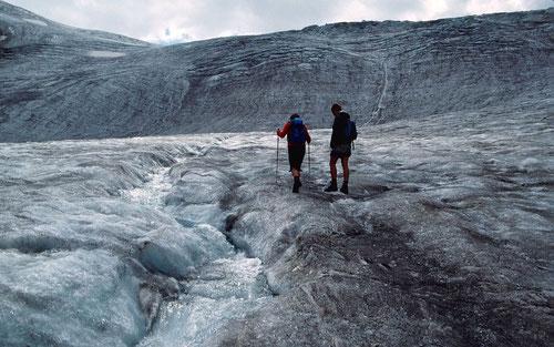Ehemalige Gletscherzunge und unterer Eisfall des Sulztalferners im August 1994