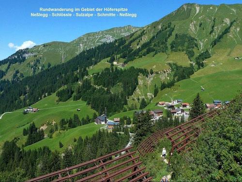 Foto von Neßleg, von den Parzellen und Alpen am Höferberg und von der Höferspitze mit den Lawinenverbauungen.
