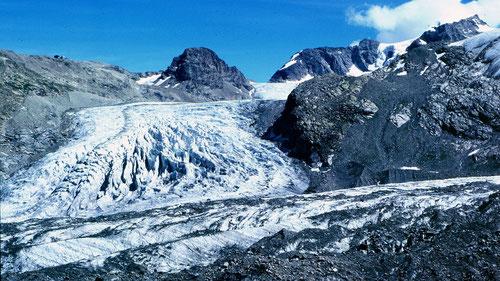 Persgletscher im Aug. 1986. Vgl. Situation im Jahr 2012 bei SwissEduc - Glaciers online durch Klicken auf das Foto!