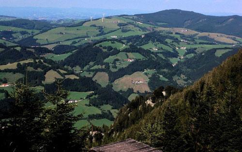 Foto vom Hohe-Dirn-Gebiet: Windpark Laussa bei Vorderplatten. Dahinter PLattenberg und der bewaldete Spadenberg.