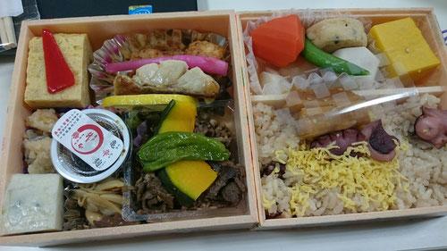 亀戸升本の体にいい高級弁当。これを1日目の夕食で食します。食の瞑想で1時間かけていただきます。これぞ河原塾の食育です。