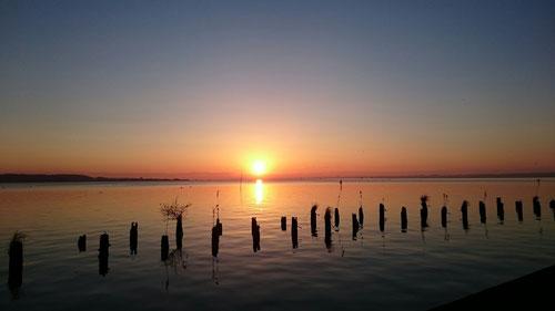 塾超MS・・・太陽=空=雲=湖=水鳥=波=わたし(人間)。人間だからといって、決してえらいわけではない。人間は大自然の本の一部分であり、末端に位置する。そんなちっぽけな存在でしかないのだ、どうして悩むことなんてあろうか。