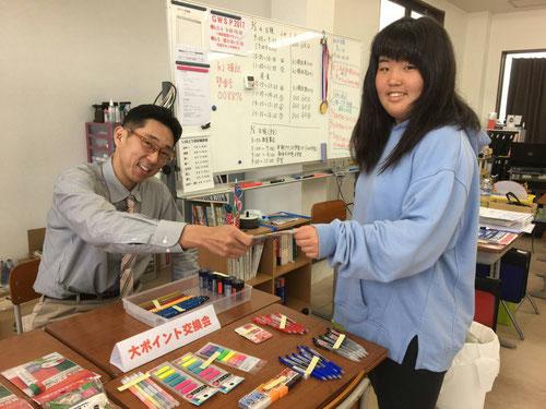 西茨城校では、大ポイント賞品交換会を同時開催!日頃ためているポイントカードで豪華賞品をゲットしました(^^)